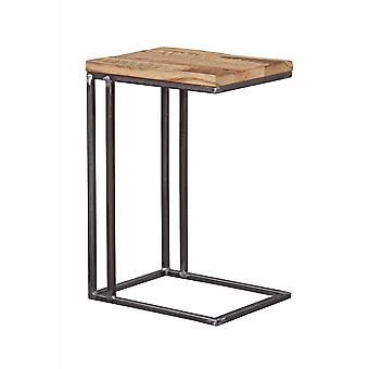 Industrial Natural Oak And Steel Side Table