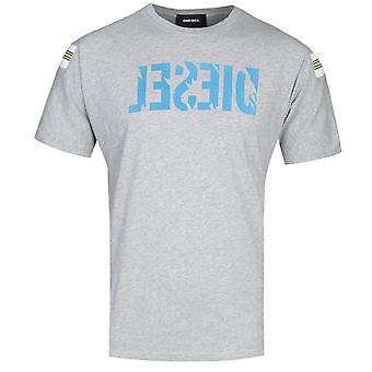 Diesel T-Tryll Contrast Logo Grey Marl T-Shirt