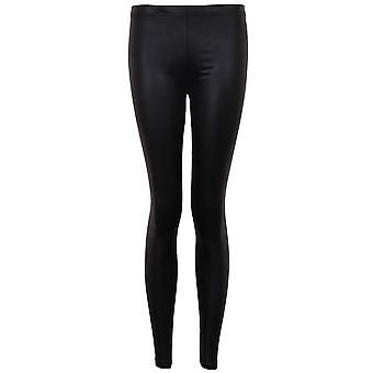 Ladies Black Shiny Wet Look Faux Leather Sexy Women's Full Length Leggings