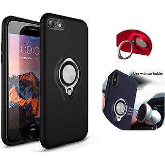 Colorfone iPhone 7/iPhone 8 Case Black Shell med ring og metallplate