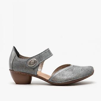Rieker 43767-14 Damen Leder Block Ferse Schuhe Denim