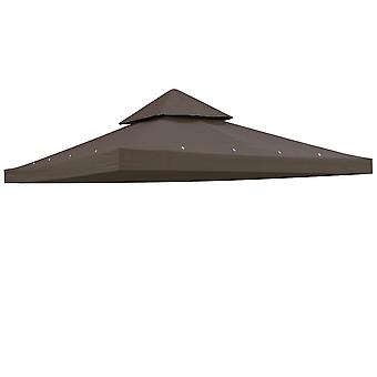 "Yescom 117""x117"" Canopy Top Replacement Y00397T10 Coffee for Smaller 10'x10' Dual-Tier Gazebo Cover Patio Garden Outdoor"