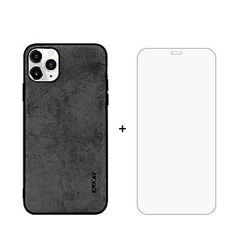 Voor iPhone 11 Pro Case Fabric Texture Zwart en Tempered Glass Screen Protector
