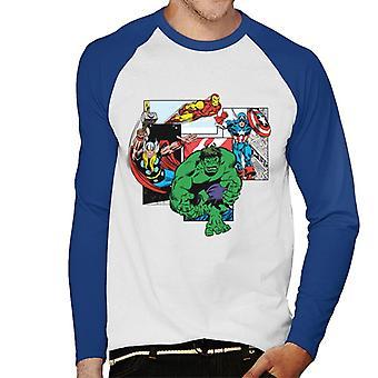 Marvel Avengers sarja kuva toiminta pakattu paneelit miesten ' s baseball pitkähihainen T-paita