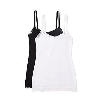 Iris & Lilly Women's Body Natural Lace Trim Cotton Camisole, Pack of 2, Mul...