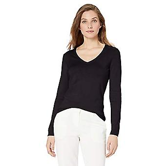 Marque - Lark & Ro Women's Long Sleeve V Neck Pima Cotton Sweater, Blac...
