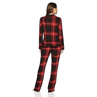 Brand - Mae Women's Notch Collar Pajama Set, FESTIVE PLAID, large