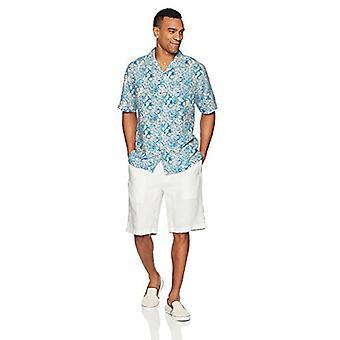 28 Palms Men's Relaxed-Fit Silk/Linen Tropical Hawaiian Shirt, White/Blue Hib...