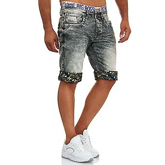 Men's 3/4 Jeans Shorts Summer Stretch Bermuda Pants Used Design Print Washed