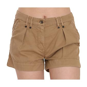 Brown Mid Waist 100% Cotton Mini Shorts -- PAN7729264