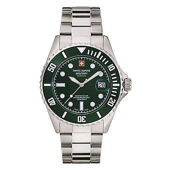 Reloj suizo de los hombres militares alpinos cuarzo analógico 7053.1134SAM acero inoxidable