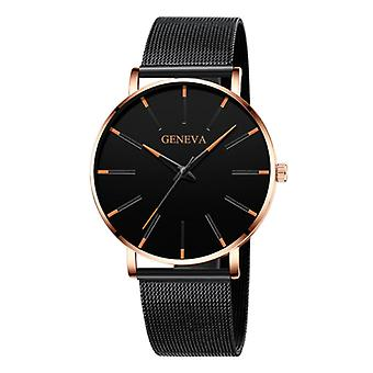 Geneva Quartz Watch - Anologue Luxury Movement for Men and Women - Stainless Steel - Black-Gold