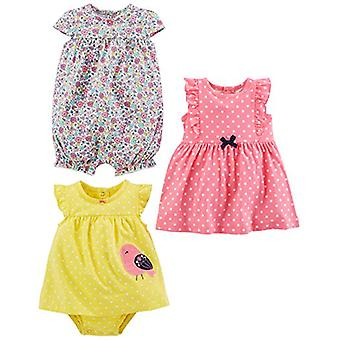 Simple Joys by Carter's Baby Girls' 3-Pack Romper, Sunsuit and Dress, Pink Do...