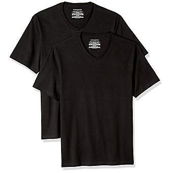Essentials Men's 2-Pack Lose-Fit V-Ausschnitt T-Shirt, schwarz, X-Large