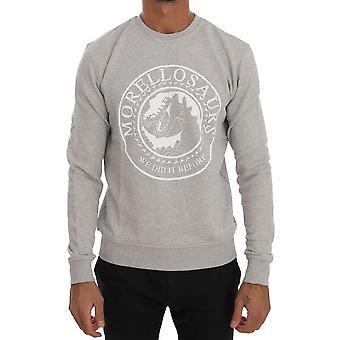 Frankie Morello Gray Cotton Crewneck Pullover Sweater TSH1291#2-4