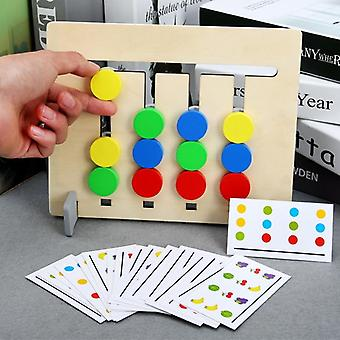 Wooden Montessori Toy Four Color/ Fruit Double Sided Matching - Game Logical Reasoning Training Kids Educational Toys For Children (multicolor)