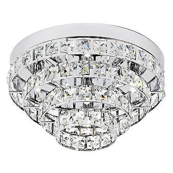 Endon Motown - 4 Light Flush Ceiling Light Chrome, Clear Crystal (K5) Verre, G9
