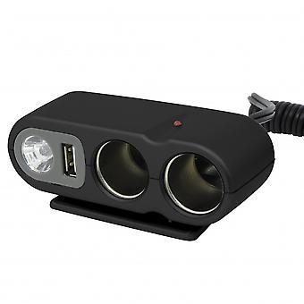 Steckerbox Feuerzeug Stecker 2-Wege (12V - 5A) LED schwarz