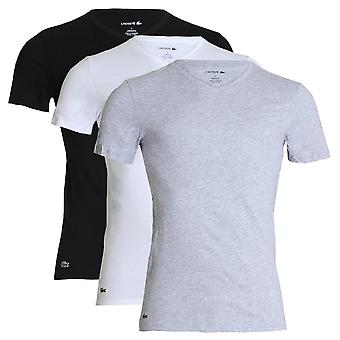 Lacoste Essentials Cotton 3-Pack Slim Fit V-Neck T-Shirt, White / Silver Chine / Black, XX-Large