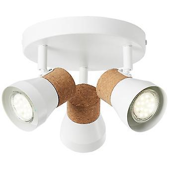 BRILLIANT Lampa Moka Spotrondell 3flg vit matt/brun   3x PAR51, GU10, 10W, lämplig för reflektorlampor (medföljer ej)