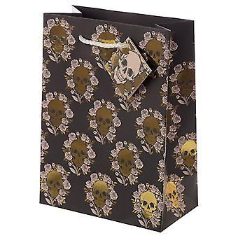 Skulls & Roses Metallic Medium Gift Bag