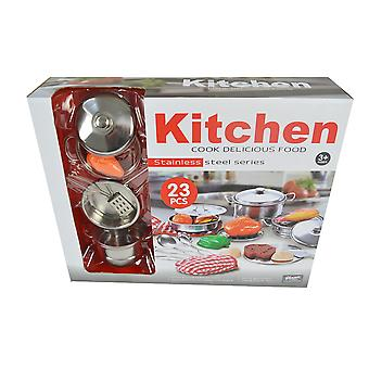 23pc. Stainless Toy Cooking Set