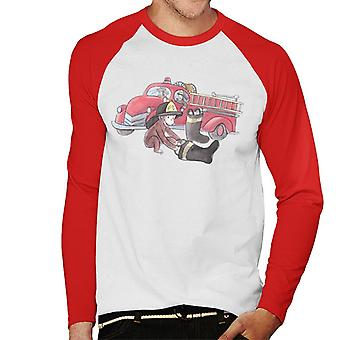 Curieux George Balloon Fire Department Truck Men-apos;s Baseball Long Sleeves T-Shirt