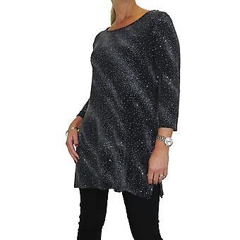 Mujeres's Stretchy 3/4 Longitud Manga Lurex Glitter Sparkle Tunic Blouse Top Ladies Everyday Party Evening Shiny Black Silver 8-10