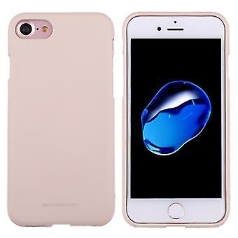 MERCURY GOOSPERY MJUK KÄNSLA för iPhone 8 & 7 Flytande tillstånd TPU Drop-bevis Soft Protective Back Cover Case (Aprikos)