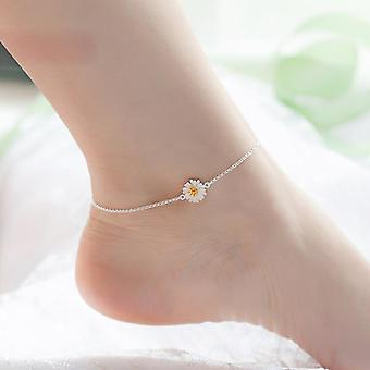 925 Pure Silver Elegant Sweet Daisy Anklets Female Brief Fashion Foot Chain