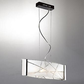 Moderne hangende hanghanger Chrome 4 Licht met witte matte tint, G9