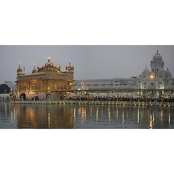 Golden Temple in der Abenddämmerung Amritsar Punjab Indien Poster Print
