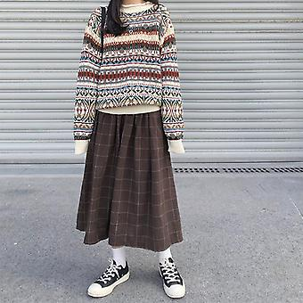 Style High Elastic Waist Long Skirts Woman Autumn Winter Plaid A-line Women
