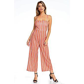 Women's Stripe Sleeveless Jumpsuit