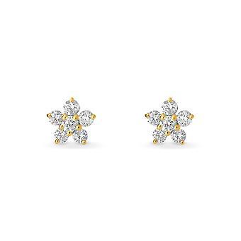 Vauvan korvakorut keiju kukka, 18K kultaa ja timantteja - keltainen kulta