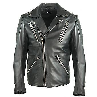 Diesel R-Pusmir Black Leather Biker Jacket