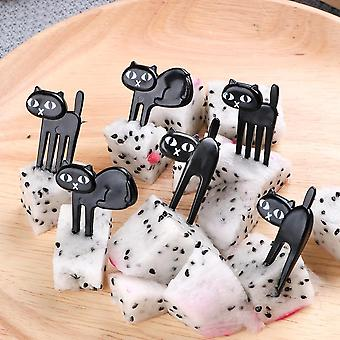 Cat Fruit Fork Mini Cartoon Snack Cake Dessert Food Bento Lunches Toothpick