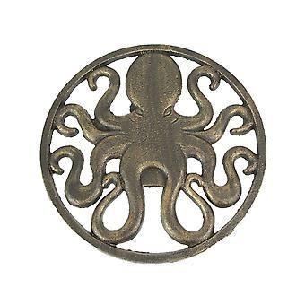 Antike Bronze fertig Gusseisen Oktopus Wandbehang 11,75 Zoll im Durchmesser