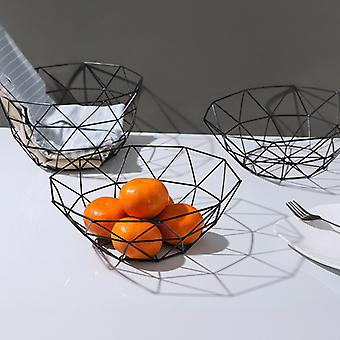 Metal Wire Basket Hollow-out Design Fruit Vegetable Storage Holder Kitchen Basket Container Bowl Snack Tray Table Storage Bowl