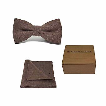 Ylämaan kudonta Hessian Ruskea Rusetti &; Pocket Square Set | Boxed