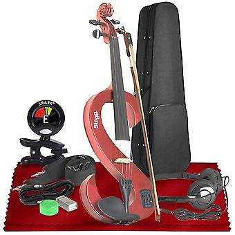 Stagg evn 4/4-size silent violin set with case  basic accessories bundle with tuner and cleaning kit, perfect for musicians and violinists ps84039