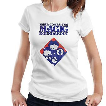 den magiske rundkjøringen retro blå tone diamant kvinner's t-skjorte