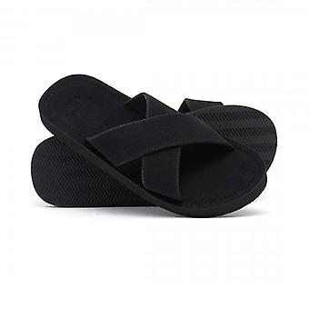 Superdry Slim Cross Strap Slide Sandalen Zwart 02A