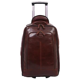 Ashwood Leather Cabin Size Weekend Trolley Bag - Brown