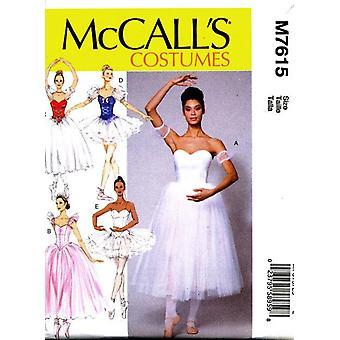 McCalls Schnittmuster 7615 Misses Ballett Kostüme Größe 6-14