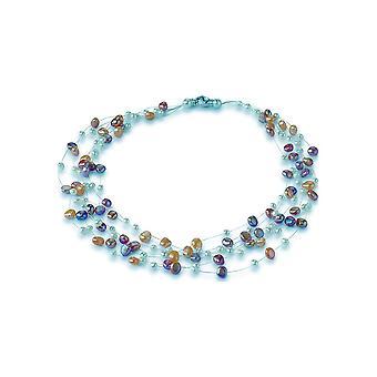 Collana Adriana Pearl Freshwater multicolore in nylon a 7 file circa 45 cm argento V6
