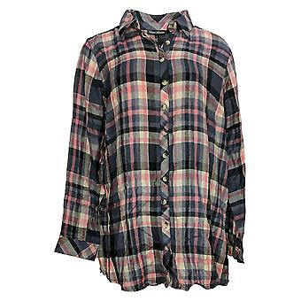 Tolani Women's Top Button Front Tunic w/ Printed Back Pink A354814
