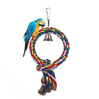 Bird Toys Round Circel Rings Climbing Hanging Rope Parrots Cotton Sling Toys With Bell