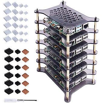 FengChun 6-Layers Raspberry Pi Cluster Gehäuse,Raspberry Pi Rack Gehäuse mit Kühlkörper Stapelbares