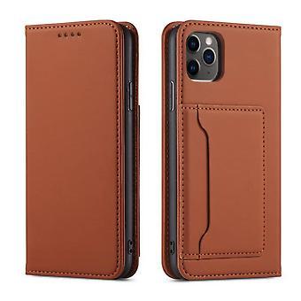 Flip folio leather case for samsung a42 dark brown pns-3972